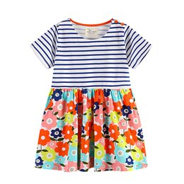 Wholesale Boutique Clothes For Girls Wholesale - 2018 Boutique European and America style Floral Dress for girl Striped Short sleeve Flowers Print 100% cotton Wholesale Kids clothing 18M-6T