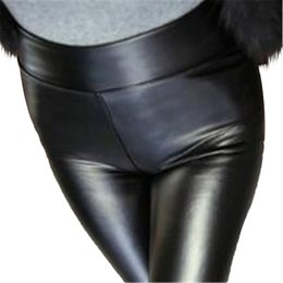 soft warm leggings Promo Codes - PU leather Leggings Russia Winter Women patchwork spure soft velvet warm casual leggings black Elastic Tight waist slim full length Pants