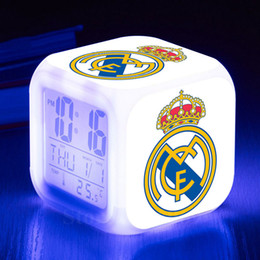Wholesale Flash Alarm Clock - Espana Team LED Alarm Clock Light Flash Night Light Clock reloj despertador Spain Football Soccer Club Digital Alarm Watch
