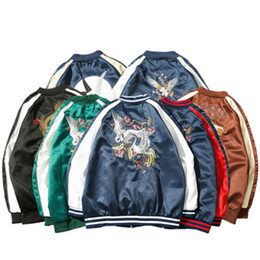 hip hop bomber jacket Promo Codes - Fashion Japanese Satin Sukajan Embroidery Bomber Jacket Men Yokosuka Souvenir Jacket Streetwear Hip Hop Baseball Jacket