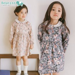 Wholesale Pink Doll Dresses - bebezoo brand Korea Girls Floral Dress Long Sleeve Spring 2018 Children Clothing Girl Party Flower Printed Lolita Style Doll Dress A8451