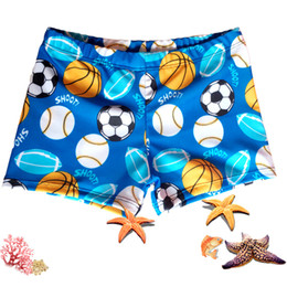 Wholesale Boys Swimming Briefs - Cartoon Football Boy Briefs Child Swimsuit Boy Swimming Trunk Beach Shorts Sport Pants For Boys Swimwear Summer Swimsuit Shorts