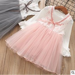 Wholesale Floral Vest Outfits - Kids outfits 2018 Girls flowers hollow out lace-up Bows splicing tulle vest dress+Flared sleeve T-shirts 2pcs sets Children Clothes C2692