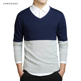 Wholesale Top Brands Mens Sweater - Varsanol Brand Mens Sweater Cutton Striped Long Sleeve Sweaters Clothing Fit Knitting V-Neck Casual Slim Pullovers Men Top M-3xl