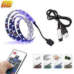 Wholesale 12v Led Tv - [MingBen] TV PC Background LED Strip Lighting DC5V USB SMD5050 RGB 60LEDs m with 17Key RF Controller 50cm 1m  2m Set Free ship