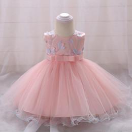 2019 rosa babykleid monate Baby bestickten Kleid Infant Taufe Kostüm Baby Mädchen Rosa Kleidung 0-24 Monate Neugeborenen Kinder Kleidung Grünes Kleid günstig rosa babykleid monate