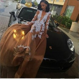 Wholesale Custom V - Champagne Sexy Black Girl Prom Dresses 2018 Deep V Neck White Appliques Prom Gowns Evening Formal Dress BA8483