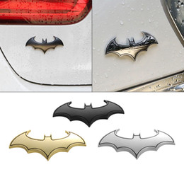 Wholesale Cool 3d Logos - 3D Cool Metal bat auto logo car styling car stickers metal batman badge emblem tail decal motorcycle car accessories