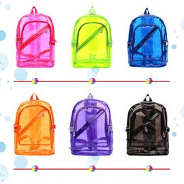 Wholesale jelly candy beach bag - 6styles Women Transparent Jelly leisure Backpack Candy Color School Book Bag Clear Beach Waterproof Shoulder bags FFA450