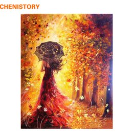 Wholesale Autumn Canvas Wall Art - Wholesale-CHENISTORY Beautiful Women Autumn Landscape DIY Painting By Numbers Kits Coloring Paint By Numbers Modern Wall Art Picture Gift