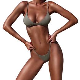 Argentina 2018 Moda Sexy Solid Top Bikini Lady Push Up Traje de baño de las mujeres Bikinis brasileños Set Traje de baño Ropa de playa Caliente cheap top hot sexy bikinis Suministro