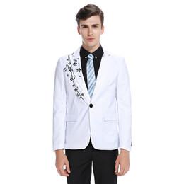 Ropa casual de oficina hombres online-Nueva chaqueta casual bordada para hombres chaqueta de oficina de moda regular Slim Print Men Casual Wears