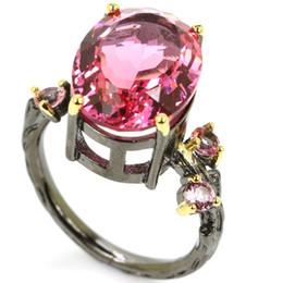 2019 annata anello zaffiro nero 8,25 # Anello da donna in argento 925 con zaffiro rosa stile vintage nero 18x16mm annata anello zaffiro nero economici