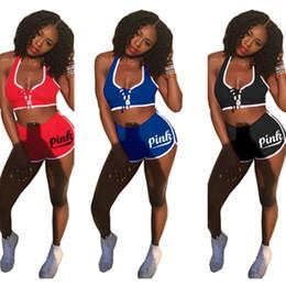 Wholesale cotton pants bra - Sexy Pink Tracksuit women girl Lace Up crop top shorts outfit Letter Printed sports bra Tank Vest Top + Short pants 2pcs set party clothes