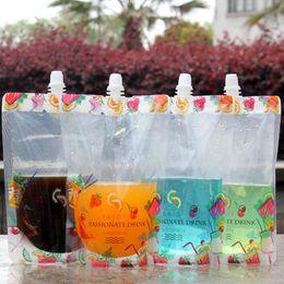 envase de la bolsa del canalón Rebajas Pretty Flower Colorful Stand Up Plastic Drink Packaging Spout Bag Pouch for Beverage Liquid Juice Milk Coffee 380ml QW7120