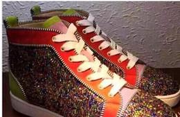 f6942c7ed0146 2018 de luxe en cuir véritable couleur paillettes garçon fille casual  baskets automne hiver marque mode rouge bas hommes   femmes chaussures  plates 35