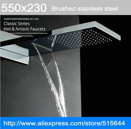 "Wholesale Dual Waterfall Shower - 22"" waterfall and rainfall shower Top spray wall mounted concealed Big shower head"