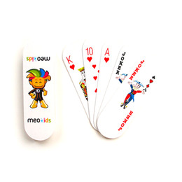Wholesale Kids Toys Domino - Kids Playing Cards Poker with Plastic Container Wholesale High Quality Oval Shaped Women Kids 54 Cards Board Game Poker