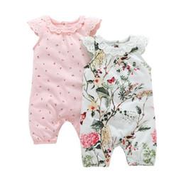 bb77ad60e348 Ins Baby kids summer girl romper round collar flower Print flying sleeve  romper kids elegant clothing 2 styles