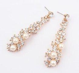 envío libre Gran nombre de la industria pesada está llena de perlas de diamantes estilo largo pendiente hermosa dama de lujo de alta calidad oreja uñas earri desde fabricantes