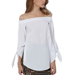 caaa84f0526 Off Shoulder Tops T-Shirt 2019 Sexy Women Summer Slash Neck Elegant T-Shirts  Casual Long Sleeve Solid Loose Blusas Plus Size