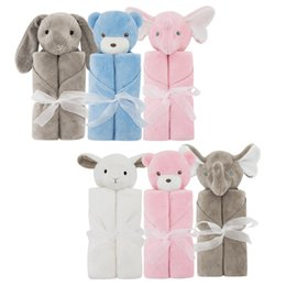 Wholesale Rabbit Bedding - Kids Crystal velvet elephant Blankets Winter Warm rabbit bear Blankets infant Swaddling cartoon baby bed sheet Sleeping Bag 76*76cm C2217