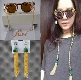 Wholesale Uv Lens Cover - Baroque sunglasses DnQueen the same style tassel 2018 new female double monkey pearl chain accessories round cover Sunglasses anti UV