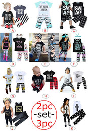 Wholesale Leopard Print Baby Girls Pants - INS summer Kids Fashion Clothing Sets Letter Print Stripes Plaid Baby Casual Suits T-Shirt & Pants Infant Outfits Kids Tops & Shorts 1-5T