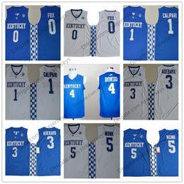 Форма рондо rajon онлайн-NCAA Kentucky Wildcats # 4 Rondo 0 Fox 1 Calipari 3 Adebayo 5 Monk синий белый Трикотажные изделия для баскетбола в колледже Rajon DeAaron Джон Эдрис Малик