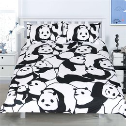 adult panda bedding Promo Codes - Panda Animal Bedding Set Black White Duvet Cover Set 3PCS Twin Full Queen Size Soft Bedclothes