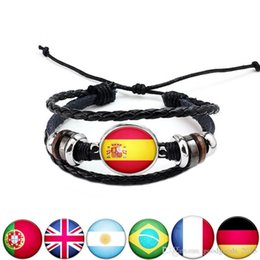 Wholesale Basketball Wristbands - Russia Football World Cup National Flags Bracelet Charm Bangles Leather Braided Bracelet Rope Beads Wristband Cuff Souvenirs Gift mk401