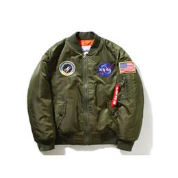 Wholesale Flight Jacket Xxl - 2018 Thin Fall-Flight Pilot Jacket Coat Bomber Ma1 Men Bomber Jackets Nasa Embroidery Baseball Military Coats M-4XL