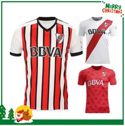 Wholesale Black White Plates - 2017 2018 River Plate home white Soccer Jersey River Plate away red Soccer Shirt 17 18 riverbed Customized football Uniform Sales