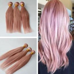 Cabello lacio dorado online-Las extensiones rosadas de la armadura del pelo humano subieron los paquetes brasileños del pelo recto del oro de Rose para la venta al por mayor del verano