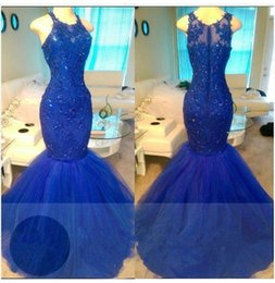 Wholesale Black Women Evening Dresses - High Quality Royal Blue Mermaid Prom Dresses for Women Long with Beadingr Floor Length Zipper Formal Evening Party Gowns 2018