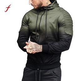Wholesale 2018 ropa más nueva Mens otoño invierno manga larga empalme pliegue con capucha Top blusa Chándales EE UU CPMA CALIENTE Dropshipping