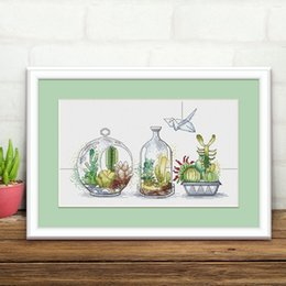 flower cactus Promo Codes - cactus flowers, Counted Cross Stitch Kits printed Cross-stitch set Embroidery Needlework DIY 14ct fabric white pattern