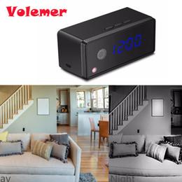 Wholesale Hd Table Clock Camera - Volemer Table Clock Camera 1080P 720P Wifi Clock Camera Alarm Setting IR Night Vision Mini Motion Sensor Mini Camcorder