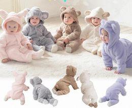 Wholesale kids bear costumes - Retail Baby Boys Girls Fleece Cotton Animal Hooded One-Piece Romper Children Halloween Xmas Costume Kids Bear Rabbit Sheep Outfit Bodysuit