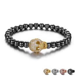 2019 pietre magiche nere Magia nera ematite pietra perline braccialetto maschile testa di cranio di cristallo di fascini del braccialetto uomini bracciali pietra natura uomini gioielli pietre magiche nere economici
