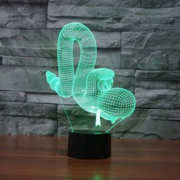 Wholesale Lamps For Wedding Table Decorations - balloon dog 3D Illusion Night Lights Colorful Acrylic Table Lamp For Decoration Lightings AA Battery Wholesale Dropshipping Free Shipping