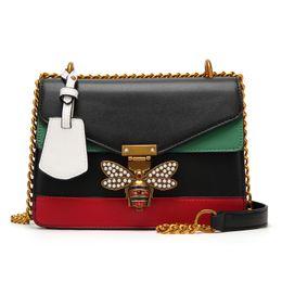 Wholesale party hard cover - Miss Lea Fashion Women Handbag Small Square Stitching Color Shoulder Bag Chain Strap Pearl Lock Decor Crossbody Bag