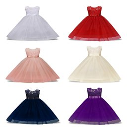 Wholesale Birthday Tutu Outfits For Girls - Baby Princess Dresses Girls Lace Flower Wedding Gown Dress Birthday Outfit Christmas Kids Party Sleeveless Dresses For 4-13T Free DHL