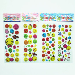 Wholesale Smiley Faces Stickers - 100pcs New cartoon smiley face bubble sticker decal Children inspirational perspective bubble prize sticker toys