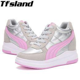 fe71bce95b1f 2019 chaussure de marche à pied talons hauts Tfsland Nouvelles Femmes Talon  Compensé Chaussures À Semelles