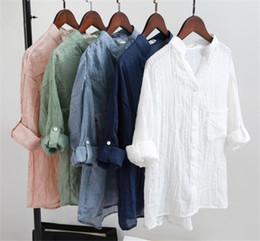 2019 ropa de lino puro Blusas de las mujeres Ropa de Lino de Algodón Señora Ropa Delgada de Color Puro Camisa Causal Mujeres Tops Blusas M241 rebajas ropa de lino puro
