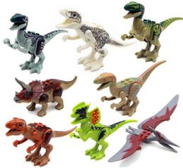 Wholesale Build Dinosaur - 8pcs lot Jurrassic World Jurassic dinosaur Figures for kids Animal Building Blocks Sets Model Toys
