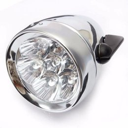 Wholesale Fixed Gear Accessories - Retro bike light for female handlebar Headlight Front Light 7 led Black Silver 11cmx8cm for fixed gear bike accessories