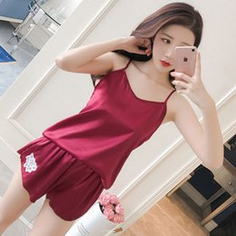 31706a0e6d9 Plus Size Sexy Sleepwear Female Sleeveless Spaghetti Strap Summer Satin  Pajamas Sets with Shorts For Women Home Clothing  05