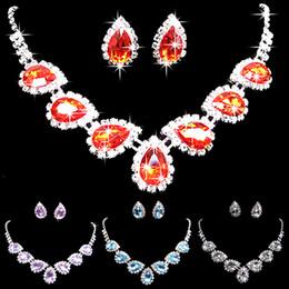 Canada Bluelans Prom mariage mariée cristal strass Waterdrop collier boucles d'oreilles ensemble de bijoux Offre